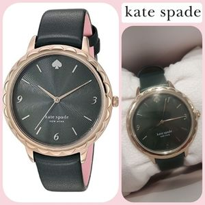 Hunter Green Kate Spade leather/gold watch